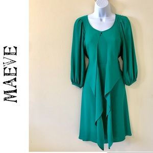Anthropologie Maeve Green Dress 0